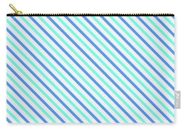 Stripes Diagonal Turquoise Blue Summer Simple Modern Carry-all Pouch