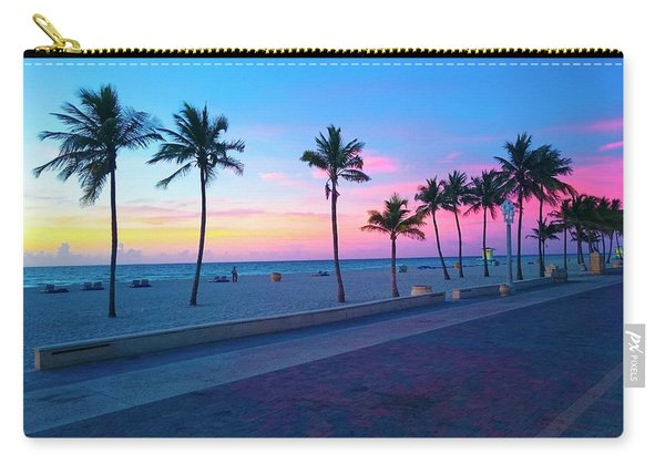 Strolling Along The Beach Under A Majestic Sunset Carry-all Pouch