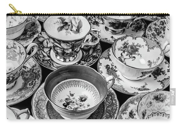Stunning Tea Cups In Black And White Carry-all Pouch