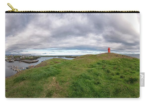 Carry-all Pouch featuring the photograph Stykkisholmur Harbor Pano by Tom Singleton
