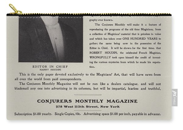Subscription Form For Conjurers Monthly Magazine, Editor In Chief Harry Houdini, Circa 1906 Carry-all Pouch