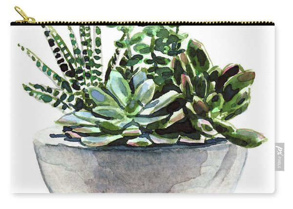 Succulent Arrangement In Modern Planter Carry-all Pouch