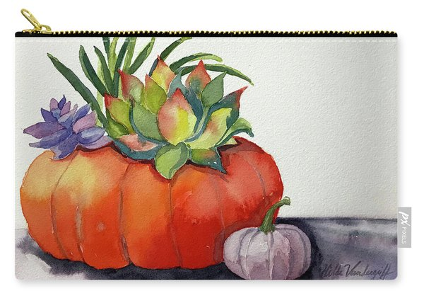 Succulents In Pumpkin Carry-all Pouch