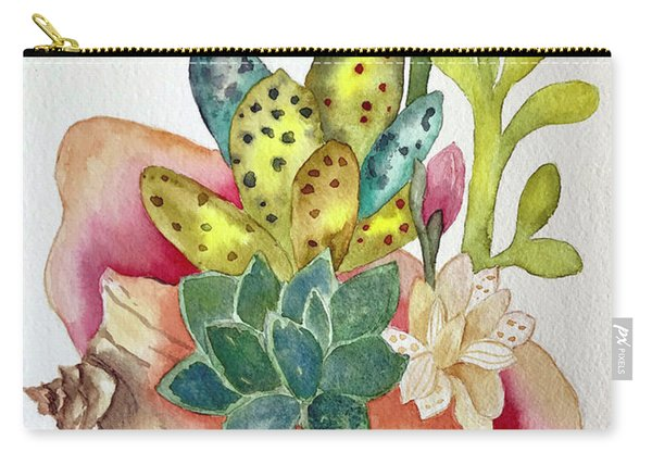 Succulents In Shell Carry-all Pouch