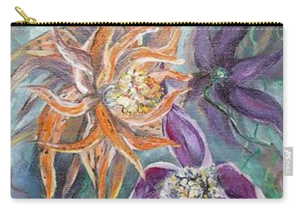Carry-all Pouch featuring the painting Summer Flowers Tall by Ryn Shell
