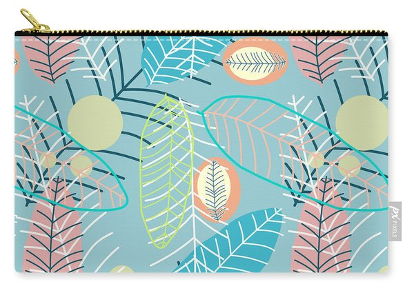 Summer Leaf In Blue  Carry-all Pouch