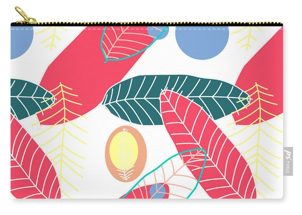 Summer Leaf In Pink  Carry-all Pouch