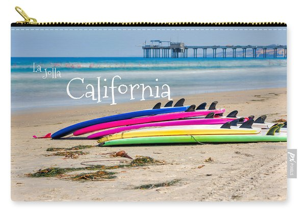 Summer Surf Day With Text Carry-all Pouch