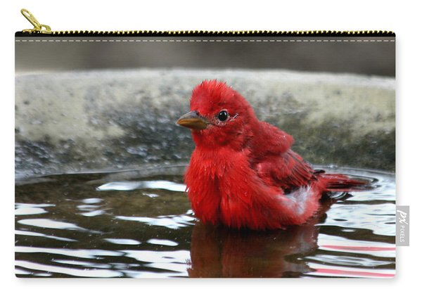 Summer Tanager In Bird Bath Carry-all Pouch