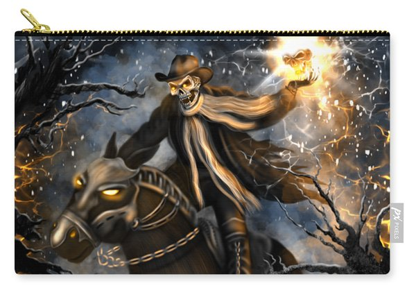 Carry-all Pouch featuring the painting Summoned Skull Fantasy Art by Raphael Lopez