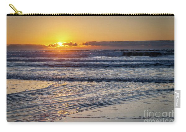 Sun Behind Clouds With Beach And Waves In The Foreground Carry-all Pouch