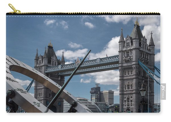 Sun Clock With Tower Bridge Carry-all Pouch