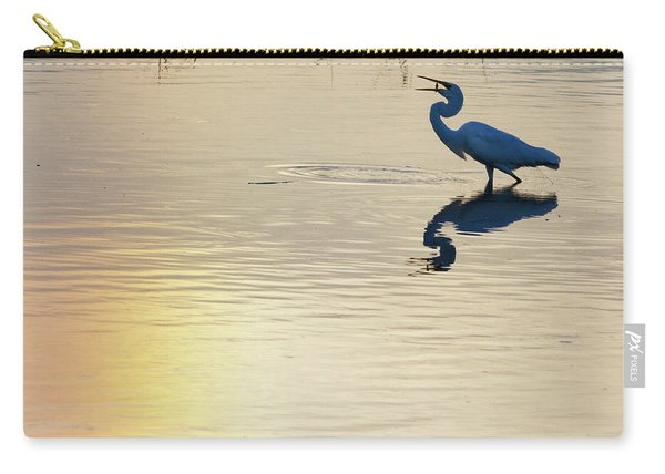 Carry-all Pouch featuring the photograph Sun Dog And Great Egret 1 by Rob Graham