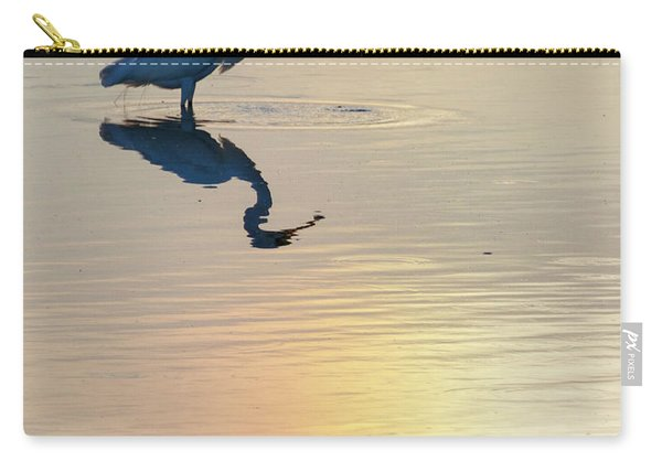 Carry-all Pouch featuring the photograph Sun Dog And Great Egret 2 by Rob Graham