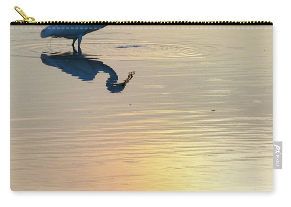 Carry-all Pouch featuring the photograph Sun Dog And Great Egret 3 by Rob Graham