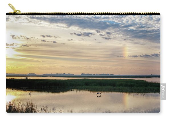 Carry-all Pouch featuring the photograph Sun Dog And Herons by Rob Graham