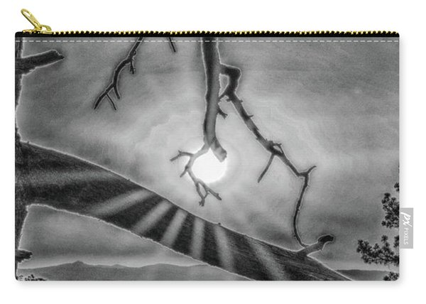 Sun Ornament - Black And White Carry-all Pouch