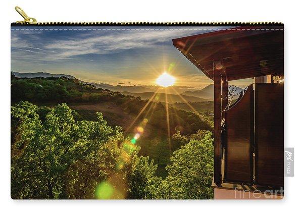 Sunburst View From Dellas Boutique Hotel Near Meteora In Kastraki, Kalambaka, Greece Carry-all Pouch
