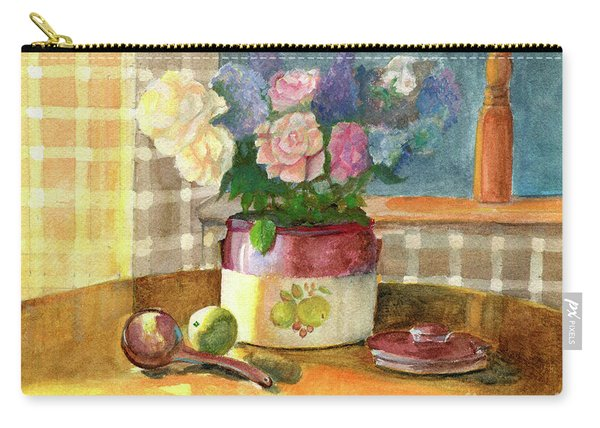 Sunday Morning And Roses-watercolor Carry-all Pouch