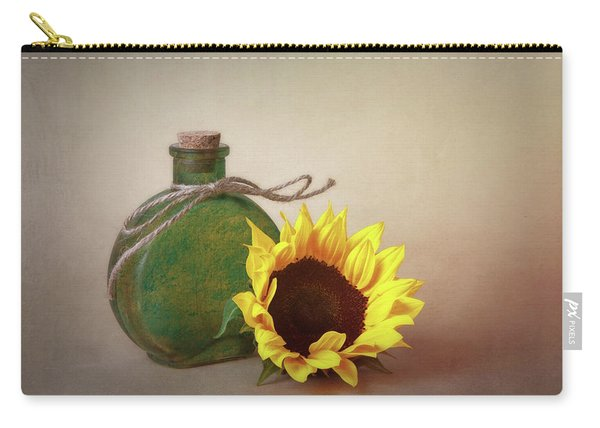 Sunflower And Green Glass Still Life Carry-all Pouch