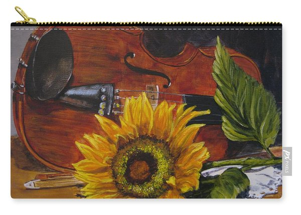 Sunflower And Violin Carry-all Pouch