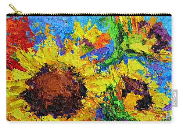 Sunflower Bunch, Modern Impressionistic Floral Still Life Palette Knife Work Carry-all Pouch