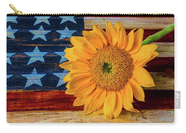 Sunflower On American Flag Carry-all Pouch