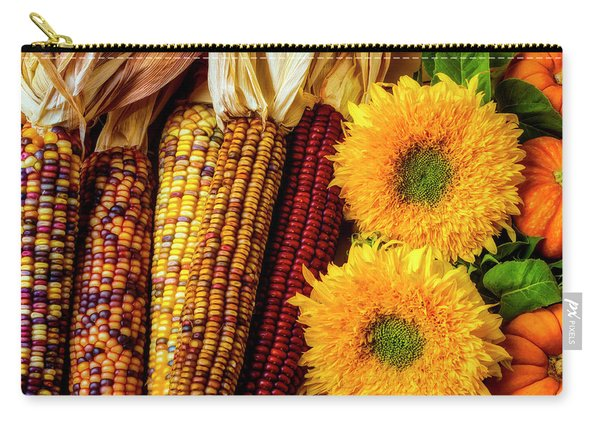 Sunflowers And Indian Corn Carry-all Pouch