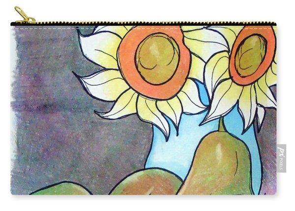 Carry-all Pouch featuring the drawing Sunflowers And Pears by Loretta Nash