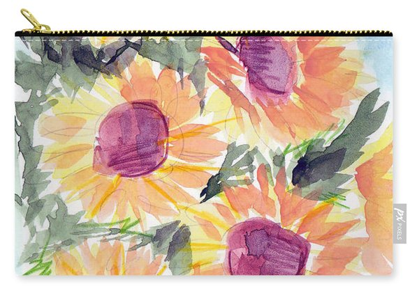 Carry-all Pouch featuring the painting Sunflowers In Blue by Loretta Nash