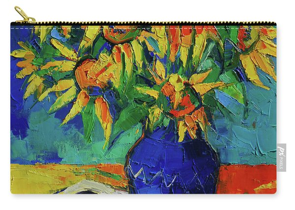 Sunflowers In Blue Vase Carry-all Pouch