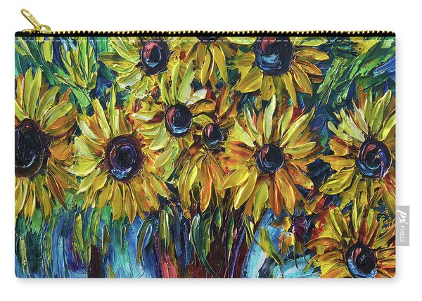 Sunflowers In A Vase Palette Knife Painting Carry-all Pouch