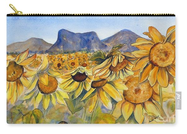 Carry-all Pouch featuring the painting Sunflowers Springsure, Queensland by Ryn Shell