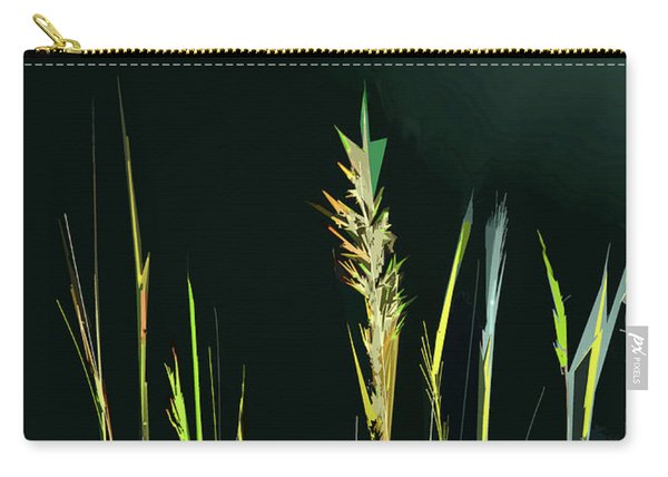 Carry-all Pouch featuring the digital art Sunlit Grasses by Gina Harrison