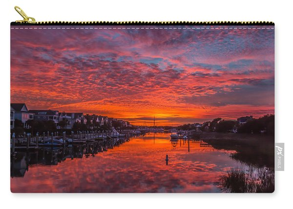 Carry-all Pouch featuring the photograph Sunlit Sky Over Morgan Creek -  Wild Dunes On The Isle Of Palms by Donnie Whitaker