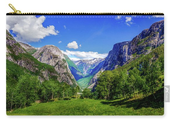 Carry-all Pouch featuring the photograph Sunny Day In Naroydalen Valley by Dmytro Korol