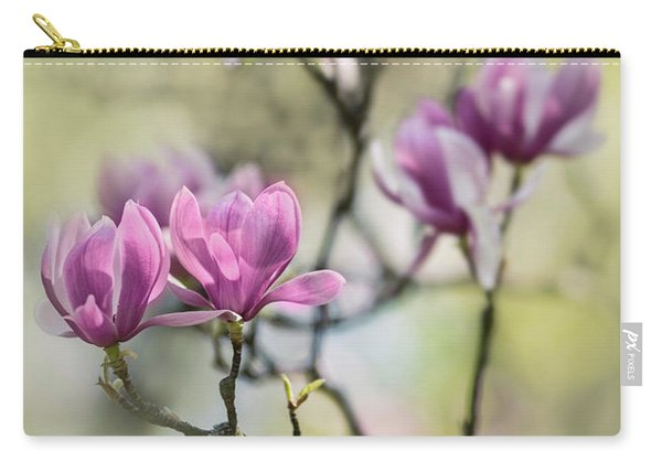 Carry-all Pouch featuring the photograph Sunny Impression With Pink Magnolias by Jaroslaw Blaminsky
