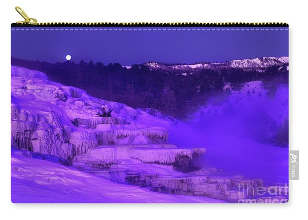 Sunrise And Moonset Over Minerva Springs Yellowstone National Park Carry-all Pouch