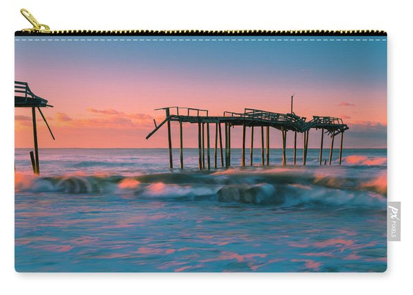 Carry-all Pouch featuring the photograph Sunrise At Outer Banks Fishing Pier In North Carolina Panorama by Ranjay Mitra