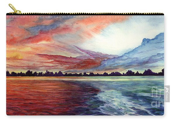 Carry-all Pouch featuring the painting Sunrise Over Indian Lake by Nancy Cupp
