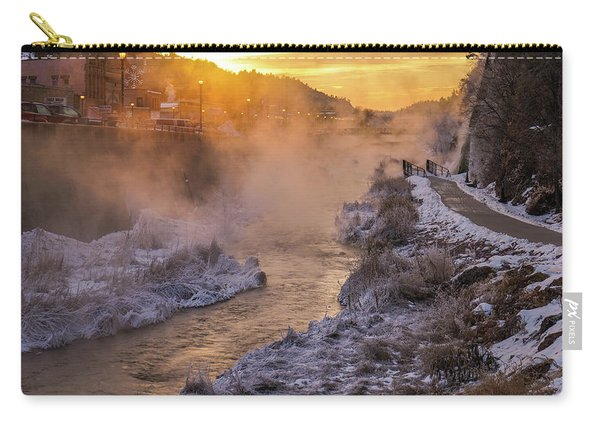 Carry-all Pouch featuring the photograph Sunrise Over The Fall River by Bill Gabbert