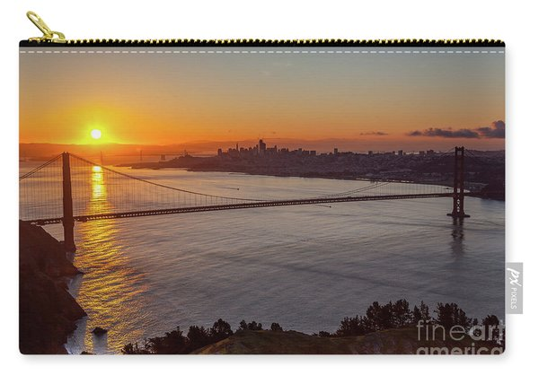 Sunrise Sunlight Hitting The Coastal Rock On The Shore Of The Go Carry-all Pouch