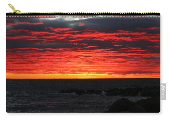 Carry-all Pouch featuring the photograph Sunset And Jetty by William Selander
