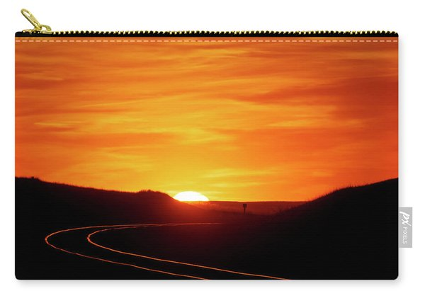 Carry-all Pouch featuring the photograph Sunset And Railroad Tracks by Rob Graham