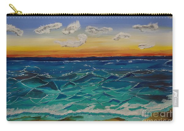 Carry-all Pouch featuring the painting Sunset And Waves by Jimmy Clark