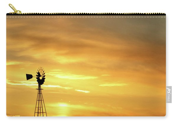 Carry-all Pouch featuring the photograph Sunset And Windmill 11 by Rob Graham