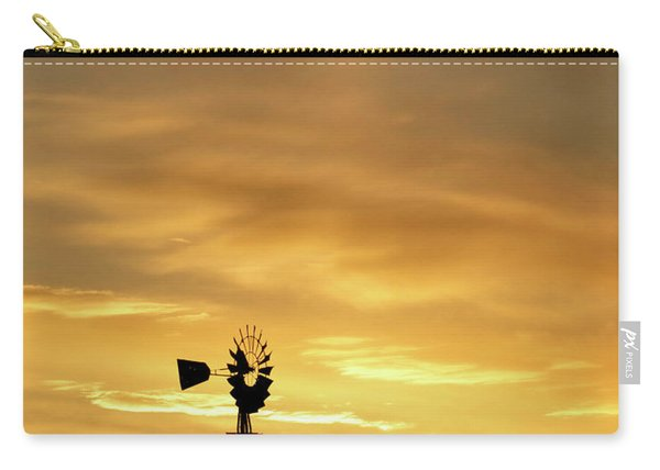 Carry-all Pouch featuring the photograph Sunset And Windmill 12 by Rob Graham