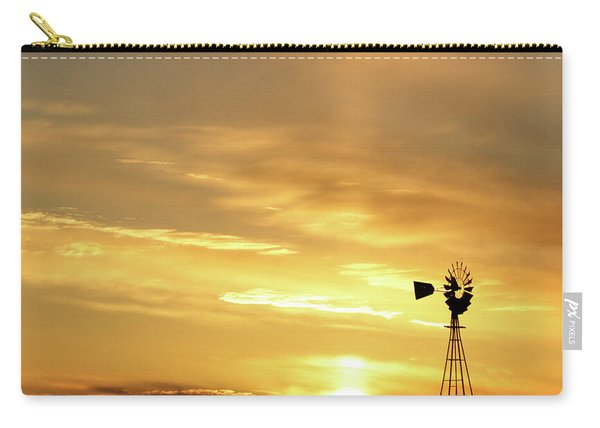 Carry-all Pouch featuring the photograph Sunset And Windmill 13 by Rob Graham