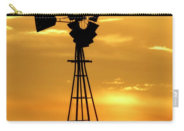 Carry-all Pouch featuring the photograph Sunset And Windmill 15 by Rob Graham