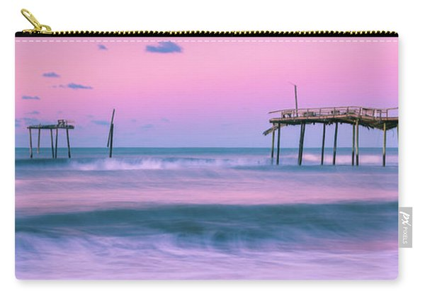 Carry-all Pouch featuring the photograph Sunset At Frisco Fishing Pier Panorama by Ranjay Mitra